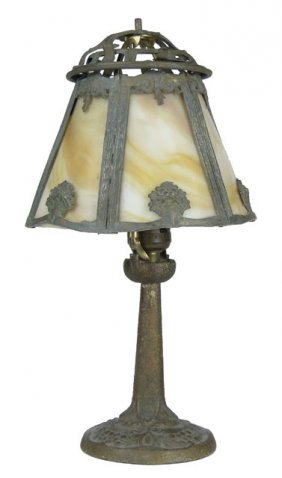 ALADDIN WHITE & BROWN SLAG GLASS BOUDOIR LAMP