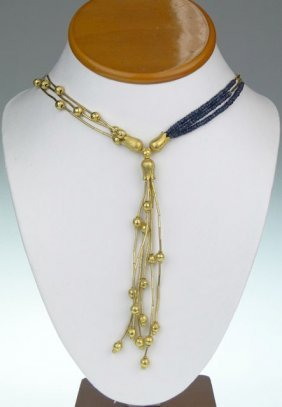 CRESSIDA 24KT PURE YELLOW GOLD & SAPPHIRE NECKLACE