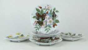 SIX (6) ROCHARD LIMOGES HAND PAINTED FLORAL & BUTTE