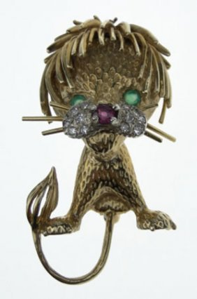18KT YELLOW GOLD LION PIN HAMMERMAN & BROS