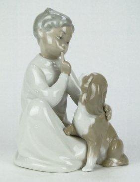 "LLADRO PORCELAIN FIGURINE ""BOY WITH DOG"""