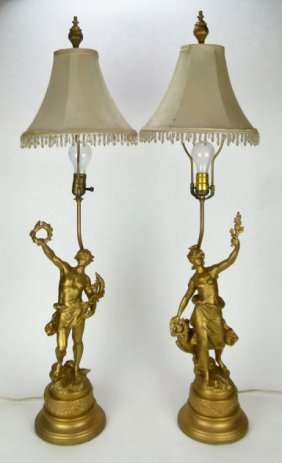PAIR ANTIQUE LUIS MOREAU METAL FIGURAL LAMPS