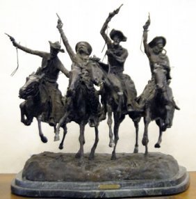 HUGE VINTAGE REMINGTON BRONZE SCULPTURE