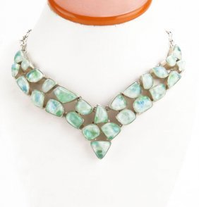 Sterling Silver Semi-precious Stone Choker Necklace.