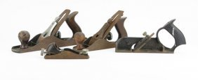 Box Lot Of Assorted Antique Cast-iron And Wood Planes.