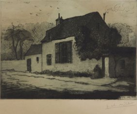 Jean Charles Millet Etching Of A Distinguished House