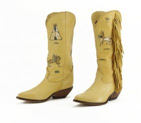 Pair Of Leather Zodiac Frontier Cowboy Boots With Nativ