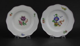 Pair Of Meissen Porcelain Floral Plates. Blue Crossed
