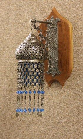 Persian Silver Plated Lantern With Hanging Tassels Moun