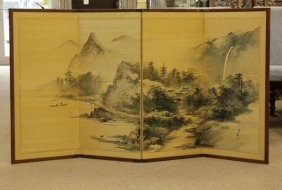 Antique Japanese Handpainted Screen On Silk. Depicting