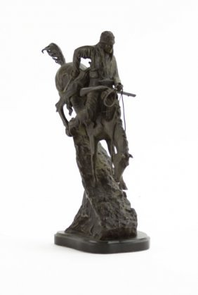 Frederic Remington Mountain Man Bronze Sculpture On Mar