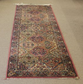 Colorful Machine Made Runner. Ends Tattered And Soiled,