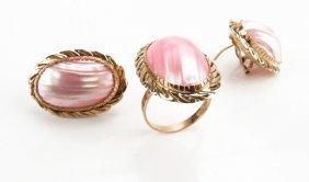 Ladies 14 Karat Yellow Gold Earring And Ring Set. Stamp