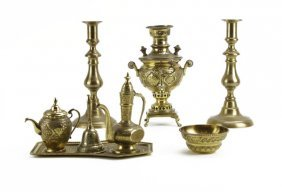 Lot Of Assorted Brass Items. Includes Small Samovar, Ca