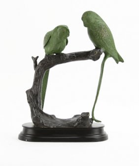 20th C. Bronze Statue Of Parrots On Branch Mounted To B