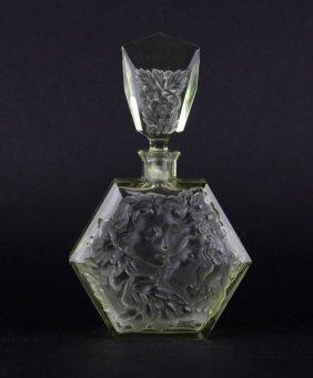 Bohemian Czech Art Deco Citrine Perfume Bottle. Unsigne