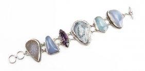 Sterling Silver Druzy And Semi Precious Stone Bracelet.