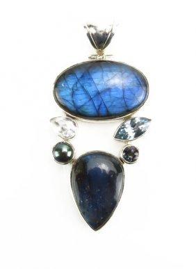 Sterling Silver Labradorite Semi Precious Stone Pendant