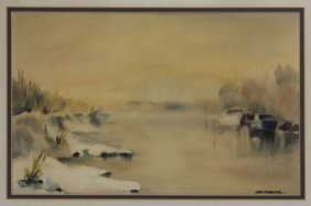 Framed Watercolor Winter On The Broads Signed Illegibly