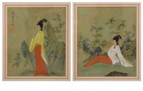 Pair Of Chinese Mixed Media Paintings Of A Young