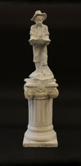 Vintage Plaster Statue Of A Young Boy On Plaster