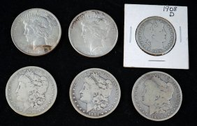 5 Silver Dollars And 1 Silver Half Dollar