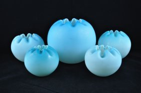 Ruffled Blue To White Cased Art Glass Rose Bowls