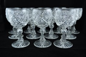 Set Of 12 American Brilliant Cut Glass Goblets