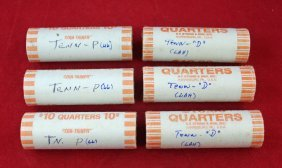 6 Rolls Uncirculated Tennessee Quarters 2002 P & D