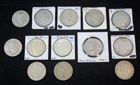 13 Peace Silver Dollars Various Dates 1922 - 1934