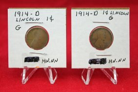 Two 1914 - D Lincoln Cents - Key Date
