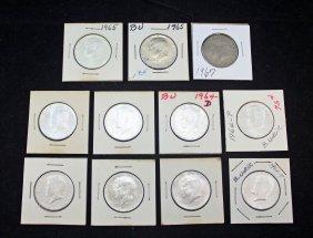 8-1964 Silver & 3 -1960s Clad Kennedy Half Dollars
