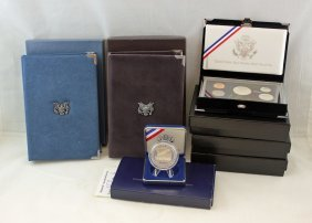 5-u.s. Mint Proof Sets & Us Constitution Silver $1