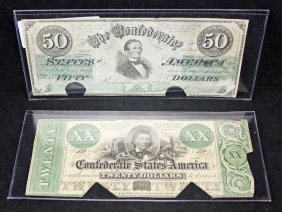 Confederate States $50 T16 & $20 T21 Dollar Notes