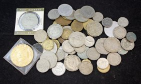 Box With Foreign, U. S. And Commemorative Coins