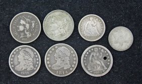 U.s. Dimes, Half Dime & Three Cent Pcs 1814 - 1867