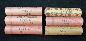 6 Rolls 1956-d Lincoln Wheat Cents Au - Bu