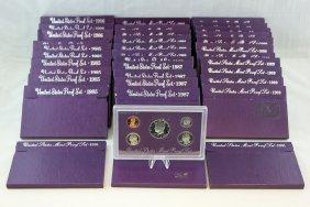 United States Proof Set Lot, 35 Sets 1985 - 1991