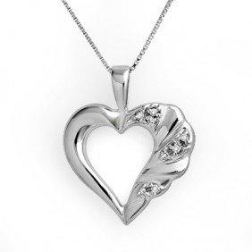 Natural 0.12 Ctw Diamond Heart Pendant 10K White Gold
