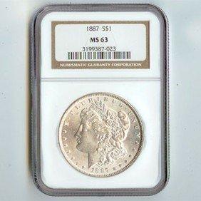 1887 Morgan Silver Dollar NGC Certified MS63