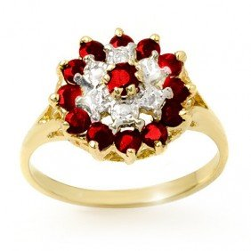 Genuine 1.12 Ctw Ruby & Diamond Ring 10k Gold