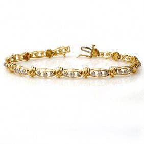 Natural 0.65 Ctw Diamond Bracelet 10K Yellow Gold