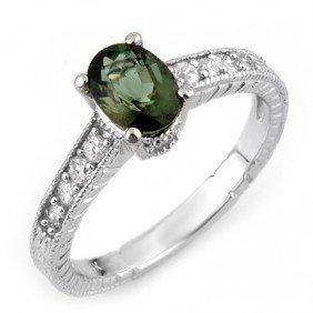 Genuine 1.25 Ctw Green Tourmaline & Diamond Ring Gold