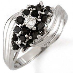 Natural 0.65 Ctw Black Diamond Bridal Ring 10k Gold