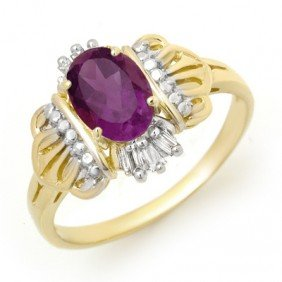 Genuine 0.77 Ctw Amethyst & Diamond Ring 10k Gold