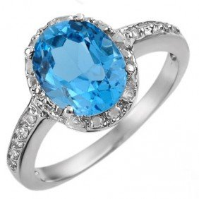 Genuine 2.65 Ctw Blue Topaz & Diamond Ring 10K Gold