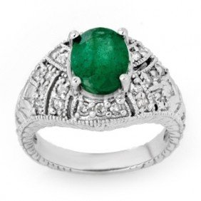 Genuine 3.8 Ctw Emerald & Diamond Ring 14K White Gold
