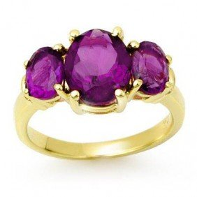 Genuine 6.15 Ctw Amethyst Ring 10K Yellow Gold