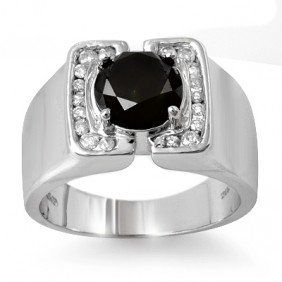 Natural 2.33 Ctw White & Black Diamond Men's Ring White