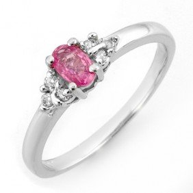 Genuine 0.44ctw Pink Sapphire & Diamond Ring White Gold